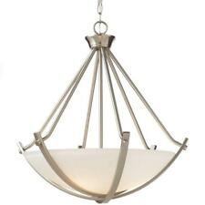 Home Decorators 3-Light Brushed Nickel Foyer Pendant w/Etched Hammered Glass