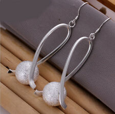 Plated round ball Dangle Earrings New Fashion Jewelry Women 925 Silver
