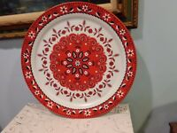 "Vintage Red White Black Tin Tray Folk Art Large 19"" Serving Platter Tray"
