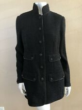 CHANEL 08A BLACK FANTASY TWEED ZIPPER TEIMMED JEWELED BUTTON JACKET COAT 42