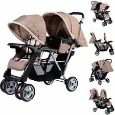 Stable Boys Girls Double Stroller Infant Baby Pushchair Twin Seat Solid Canopy