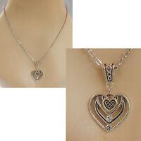 Celtic Heart Necklace Love Silver Pendant Jewelry Handmade Fashion Women Chain