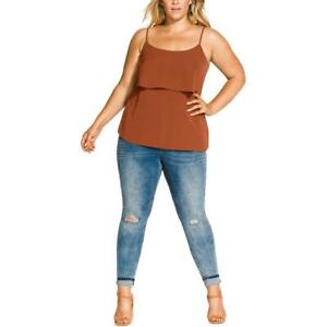 City Chic Womens Bronze Tank Shell Tiered Camisole Top Top Plus 14 XS BHFO 0895
