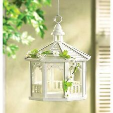 distressed shabby White Gazebo garden fairy Bird house decorative seed feeder