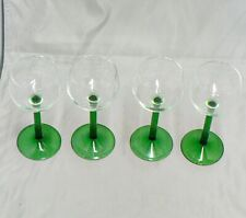 SET OF 4 CLEAR GLASS GOBLETS WITH GREEN GLASS STEMS