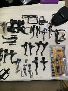 Lot of Parts Brake Sets, Shifters, Pedals, Bag, Pads Installed On Brakes Used