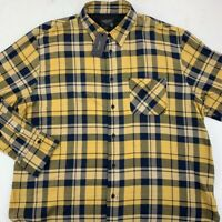Rag & Bone Mens Button Front Shirt Yellow Blue Plaid Long Sleeve Fit 3 XXL New