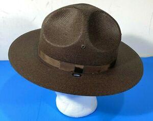 STRATTON CAMPAIGN STRAW S40DB HAT DOUBLE BRIM BROWN 6 7/8  WIDE OVAL