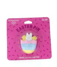 Hallmark Easter Hat Lapel Pin Happy Easter Bunny and Chics in an Egg