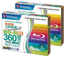10 Verbatim 3D Blu ray Disc Dual Layer Bluray Inkjet Printable 50 GB BD-R DL 4x