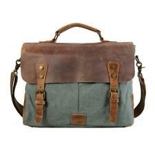 "Mens 14"" laptop Leather Canvas Briefcase Messenger Shoulder Bag Satchel Casual"