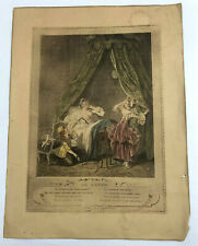 Vintage 1774 Le Lever Print Engraving Woman In Bed after Sigmund Freudenberger