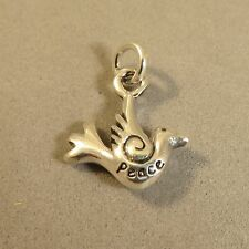 .925 Sterling Silver 3-D PEACE DOVE CHARM Pendant NEW Sparrow Bird 925 BI42