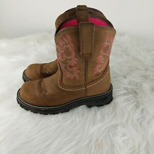 Ariat Fatbaby Cowgirl Roper Womens Brown/Pink Western Boots Size 6.5B Embroidery