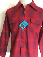 VTG 60s ~ NOS ~ TOWNCRAFT PLUS WOOL BLEND FLANNEL BOARD SHIRT ~ Red Plaid ~ M