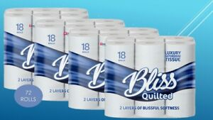 72 BLISS TOILET ROLLS 2 PLY  200 SHEET TISSUE LUXURY QUILTED PAPER 18X4