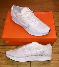 "BNWB NIKE FLYKNIT RACER ""GODDESS"" TRAINER UK 10 TRIPLE WHITE WAFFLESKIN"