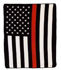 Wholesale ( 6 ) USA Thin Red Line 50x60 Polar Fleece Blanket Throw Plush