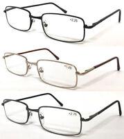 L14 Mens Metal Reading Glasses/Spring Hinge/Long Plastic Arm Cover/Detail Bridge