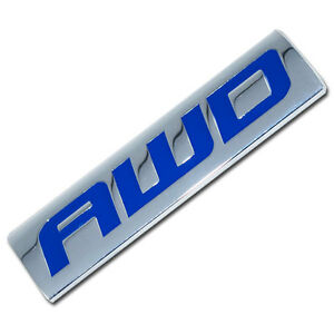 CHROME/BLUE METAL AWD ENGINE RACE MOTOR SWAP EMBLEM BADGE FOR TRUNK HOOD DOOR