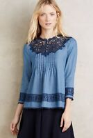 Anthropologie Holding Horses Size 4 Lace Chambray Top Blouse Eyelet Blue