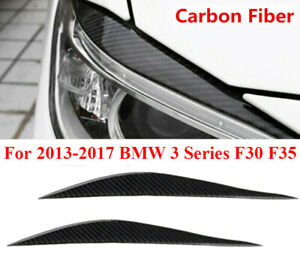 2PCS Carbon Fiber Headlight Eyebrow Eyelid Cover For BMW 3 2013-2017 F30 F35