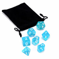 7Pcs/lot Blue Translucent Clear Polyhedral Dices Set RPG DND Toy W/ Dice Bag Hot