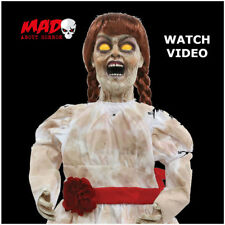 Grim Zombie Girl Animated Doll Halloween Decoration Prop Light + Sound SCARY
