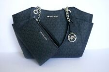 MICHAEL KORS JST LARGE CHAIN TOTE BAG + DOUBLE ZIP WRISTLET SET MK BLACK