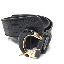 Women's Black Snake Print Elastic Stretch Belt Size Medium