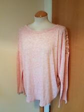 ladies pink marl top sweater size 24 sheer lace trim