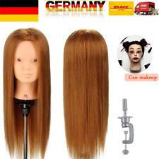 """Makeup 22"""" 50% Echtes Haar Übungskopf Friseurkopf Puppenkopf Tischklemme DE"""