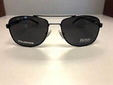 71343f1520 Hugo Boss 0762 S Mens Fashion Designer Aviator Sunglasses- Black-  Polarized- NEW