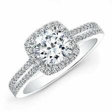 1.55ct Vintage Diamond Engagement Ring 14k White Gold