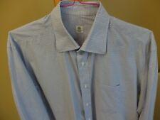 BORRELLI Dress Shirt 16/41 Modified Spread, Blue Tattersall, BEAUTIFUL, MINT