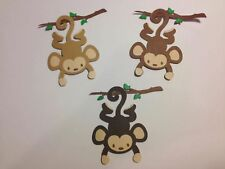 """DIE CUTS Set of 6 Monkeys 3"""" H SCRAPBOOKING CARD & PARTY DECORATIONS"""