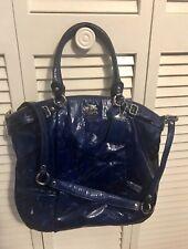 Coach Madison Lindsey Satchel Handbag Bag Ultramarine Blue Patent Leather