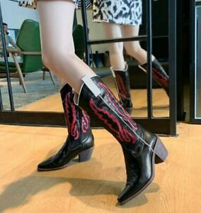 Womens 2020 Fashion Leather Two Tone Block Heel Western Cowboy Boots Shoes SKGB