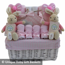 Baby Cesto Regalo/Ostacolare FLOPPY BUNNY TWIN Ragazze Baby Shower Gemelli Peter Rabbit