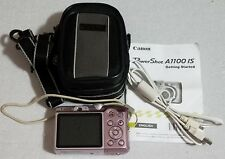 Canon PowerShot A1100 IS 12.1MP Pink Digital Camera w/ SD Card Cable Travel Bag