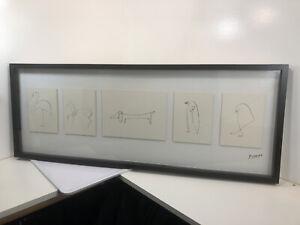 PABLO PICASSO IKEA OLUNDA ILLUSTRATION ANIMALS LITHOGRAPH PRINT FRAMED ARTWORK