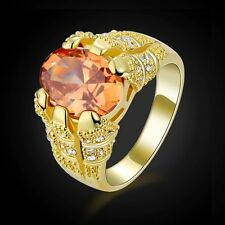Mans Jewelry Size 8 Fantastic Topaz Bridal 18K Gold Filled Wedding Rings Gift