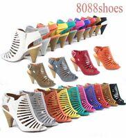 Women's Sexy Strappy Peep Toe Slingback Buckle Chunky Heel Sandal Size  5.5 -10