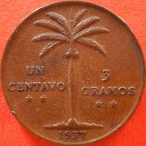 DOMINICAN REPUBLIC 1 CENTAVO 1937 Dominicana Dominikanische Dominicaine Dom Rep