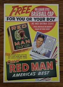 1952 Red Man Cigar Leaf Tobacco Advertisement Sign Poster # 12 Ralph Kiner