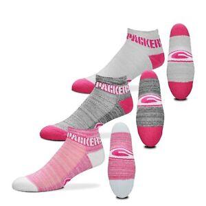 Green Bay Packers $100 RMC Grid Heathered Pink Socks, 3 Pack