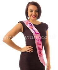 """50th Happy Birthday Party Pink Flashing Sash """" 50 and Fabulous"""" Gift present"""