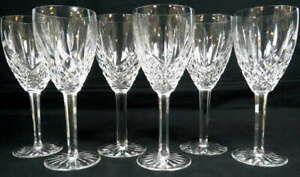 Lot 6 Waterford Crystal Araglin Water Goblets Wine Glasses Stemware