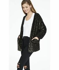 EXPRESS XS BLACK GOLD METALLIC SEQUINED COATIGAN cardigan sweater coat jacket