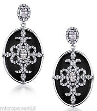 Classic Black Onyx Earrings With Pave Setting Cubic Zirconia With Silver 925